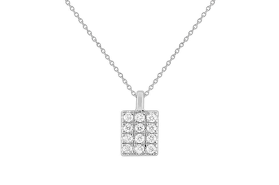 Petite Rectangle Pave Necklace