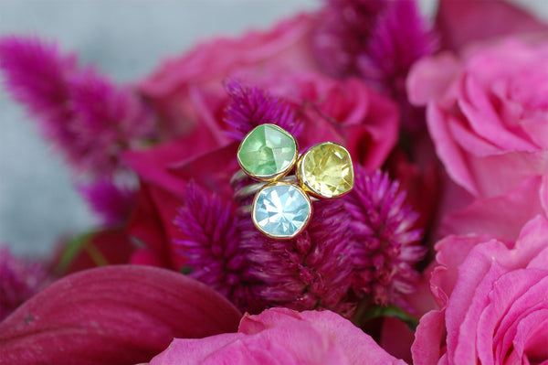 Peridot, Lemon Citrine and Aquamarine Ring