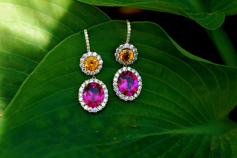 Pink Tourmaline and Mandarin Garnet Drop Earrings