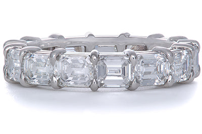 Platinum Shared Prong Emerald Cut Diamond Eternity Band