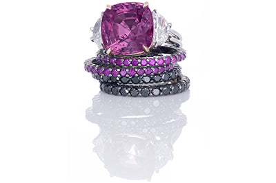 Purple Sapphire and Half Moon Diamond Engagement Ring with Bands