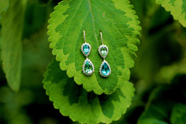 Rare Mint and Blue Tourmaline Drop Earrings