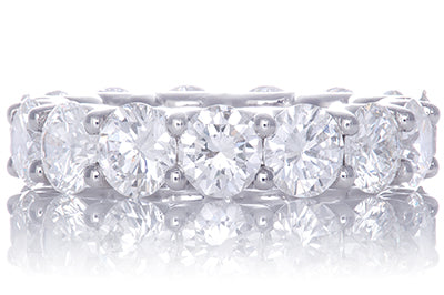 Round Brilliant Diamond Eternity Band with Shared Prong