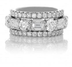 Round and Emerald Cut Diamond Wedding Band with Matching Guards