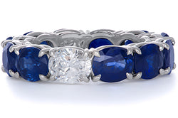 Sapphire and Diamond Oval Eternity Band
