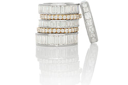 Selection of Baguette and Round Diamond Eternity Bands