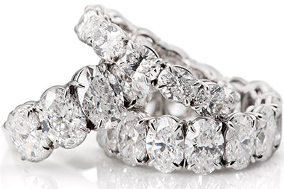Selection of Platinum Oval Diamond Eternity Bands