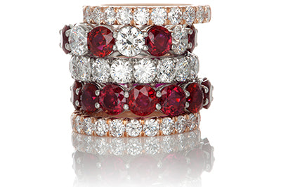Selection of Ruby and Diamond Eternity Bands