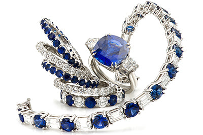 Suite of Sapphire and Diamond Ring Bands & Bracelets