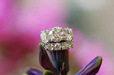 Three-Stone Ring with Matching Wedding Band