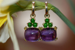Amethyst and Tsavorite Charm Earrings