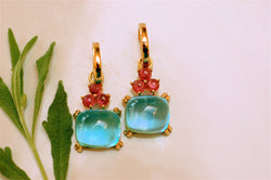 Aqua and Rubelite Charm Earrings