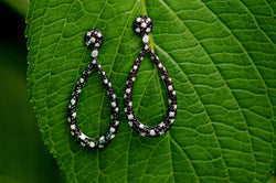 Black and White Diamond Oval Earrings