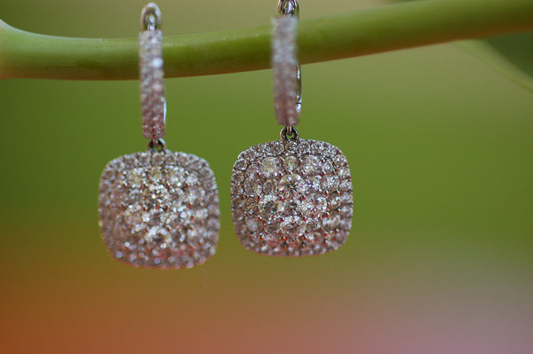 Diamond Cushion Cluster Earrings