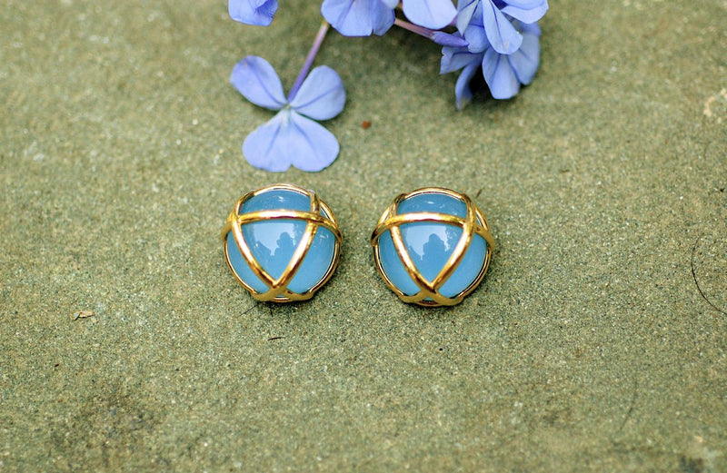 Wrapped Blue Chalcedony Earring