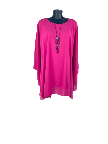 Hot Pink Ladies Top | Womens Chiffon Top | Plus Size Top