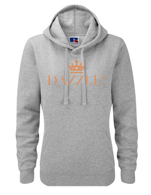 DAZZLE| Lady-Fit Hoodie|  Lt Oxford Grey |80% ring spun combed cotton 20% poly |VINYL TEXT