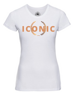 Lady-Fit T Shirt   | ICONIC   | White  |  Laurel   | 65% poly 35% cotton   | PRINT TEXT