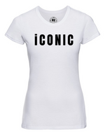 Lady-Fit T Shirt |   iCONIC   | White  |  65% poly 35% cotton  |  PRINT TEXT
