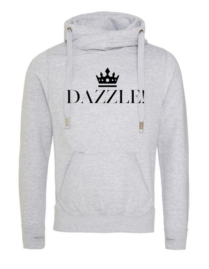 DAZZLE  | Unisex |  Cross Neck Hoodie |   Heather Grey  |  70% ring spun cotton 30% poly