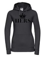 HERS  |  Lady-Fit Hoodie  |  Black  |  80% ring spun combed cotton 20% poly  |  VINYL TEXT