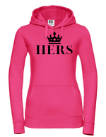 HERS |   Lady-Fit Hoodie  |  Pink  |  80% ring spun combed cotton 20% poly  |  VINYL TEXT