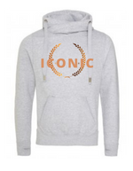 ICONIC  | Unisex   | Cross Neck Hoodie   |  Heather Grey  |  70% ring spun cotton 30% polyester