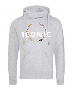 Unisex   | Cross Neck Hoodie   | ICONIC   | Heather Grey  |  70% ring spun cotton 30% polyester