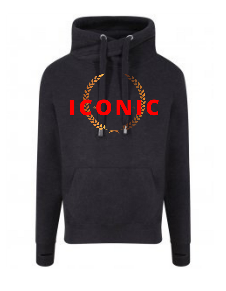 Load image into Gallery viewer, Unisex  |  Cross Neck Hoodie  |  ICONIC  |  Smoke Black  |  70% ring spun cotton 30% polyester