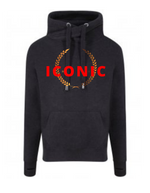 ICONIC | Unisex  |  Cross Neck Hoodie  |   Smoke Black  |  70% ring spun cotton 30% polyester