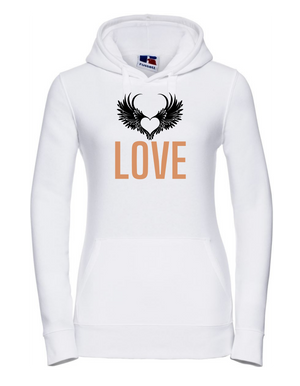Ladyfit Hoodie  |  LOVE  |  White  |  80% ring spun combed cotton 20% poly   | VINYL TEXT
