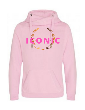 Unisex |  Cross Neck Hoodie |   ICONIC   | Baby Pink   | 70% ring spun cotton 30% poly