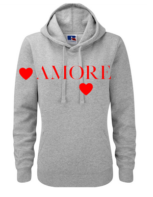 AMORE  | Lady-fit Hoodie  |   Lt Oxford Grey  |  80% ring spun combed cotton 20% poly   | VINYL TEXT