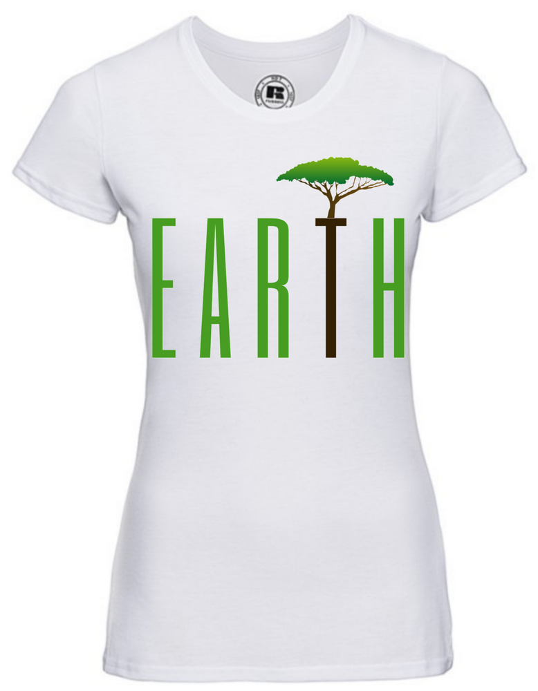 Lady-Fit T-SHIRT  |  EARTH   | 65% poly 35% cotton  | PRINT TEXT