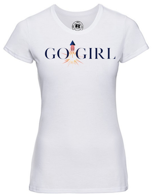Load image into Gallery viewer, Lady-Fit T Shirt  |  GO GIRL |   White |   65% poly 35% cotton   | PRINT TEXT