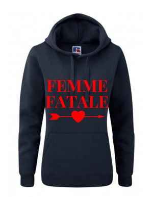 FEMME FETALE | Lady-Fit Hoodie  |   Navy   | 80% ring spun combed cotton 20% poly   | VINYL TEXT