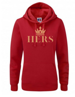 HERS  |  Lady-Fit Hoodie  |  Red  |  80% ring spun combed cotton 20% poly  | VINYL TEXT