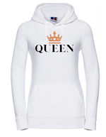 QUEEN  |  Lady-Fit Hoodie  |  Black |  80% ring spun combed cotton 20% poly  |  VINYL TEXT