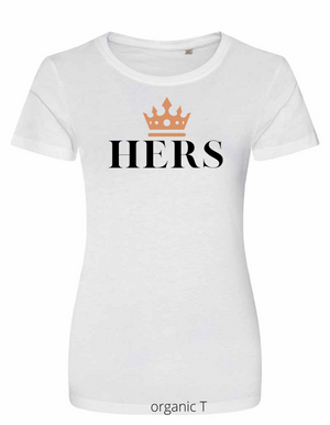 Lady-Fit T Shirt |   HERS  |  White  |  100% ORGANIC COTTON  |  VINYL TEXT