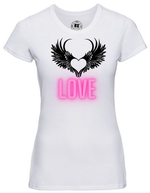 Lady-Fit T Shirt  |  White  |  LOVE  |  65% poly 35% cotton  |  PRINT TEXT
