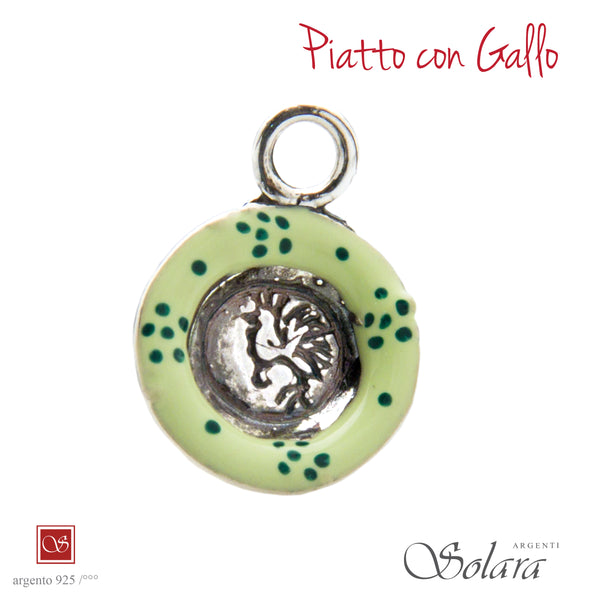 Piatto con gallo  - smaltato verde