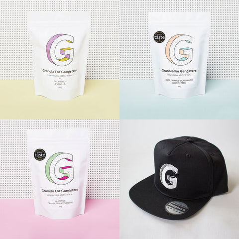Granola for gangsters gift set - three bags of granola and black snapback hat