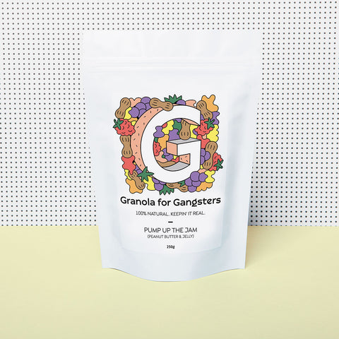 Bag of granola for gangsters limited edition pump up the jam on yellow table