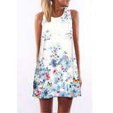 Summer Dress Sleeveless Floral Print