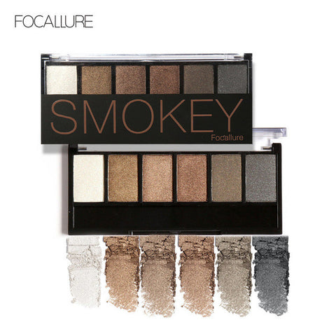 FOCALLURE 6 Colors Eye Shadow Makeup Shimmer Matte Eyeshadow Earth Color