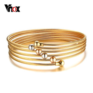 Wire Chain Bracelet Bangle  Gold-color