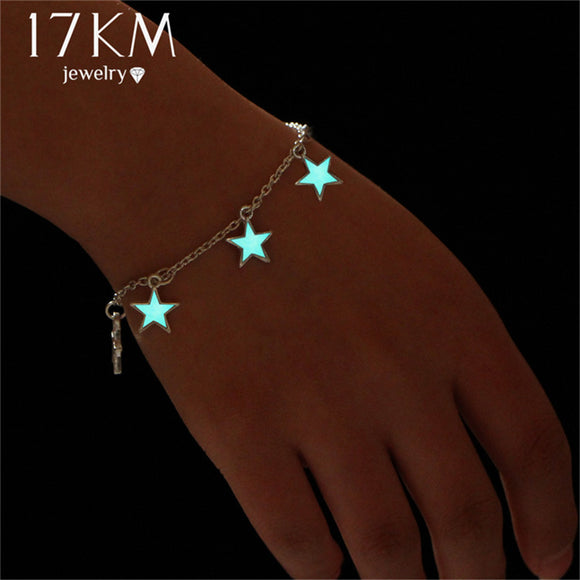 Blue Luminous Star Pendant Bracelets