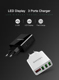 USAMS 3 Port USB Phone Charger LED Display EU/US Plug