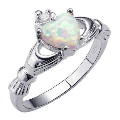 Exquisite White Fire Opal -STERLING SILVER RING