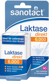 Lactase for lactose intolerance 6.000 FCC Direct Mini-tablets, 90 Tablets - Sanotact